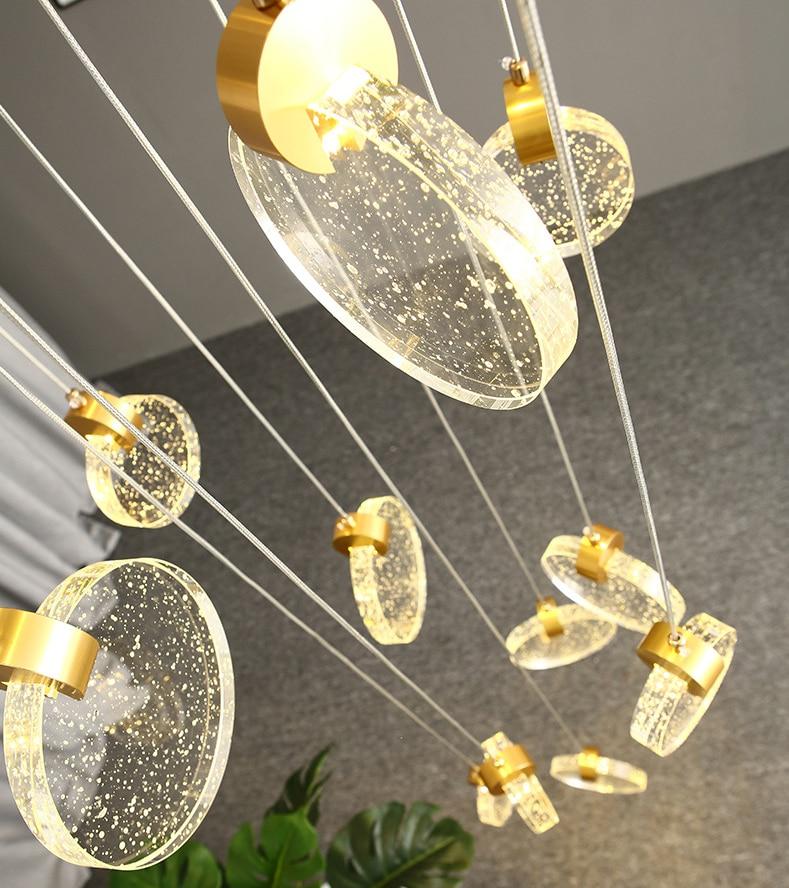 الحديثة LED درج الثريات طويلة الكريستال أضواء غرفة المعيشة تركيبات الذهب المطبخ جزيرة ديكور المنزل الفاخرة داخلي مصباح معلق