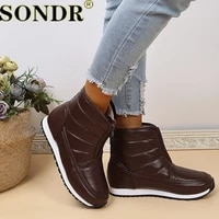 womens boots 2021 cold weather waterproof warm ankle snow boots front zip anti slip casual shoes woman boots fur boots xl 43