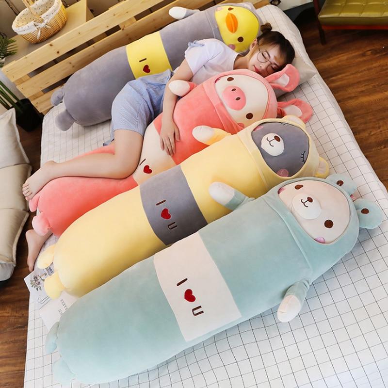 Viñetas de animales suaves almohada cojín bonito oso de peluche cerdo de pato peluche Peluche de juguete relleno cojín encantador niños cumpleaños regalo 65cm