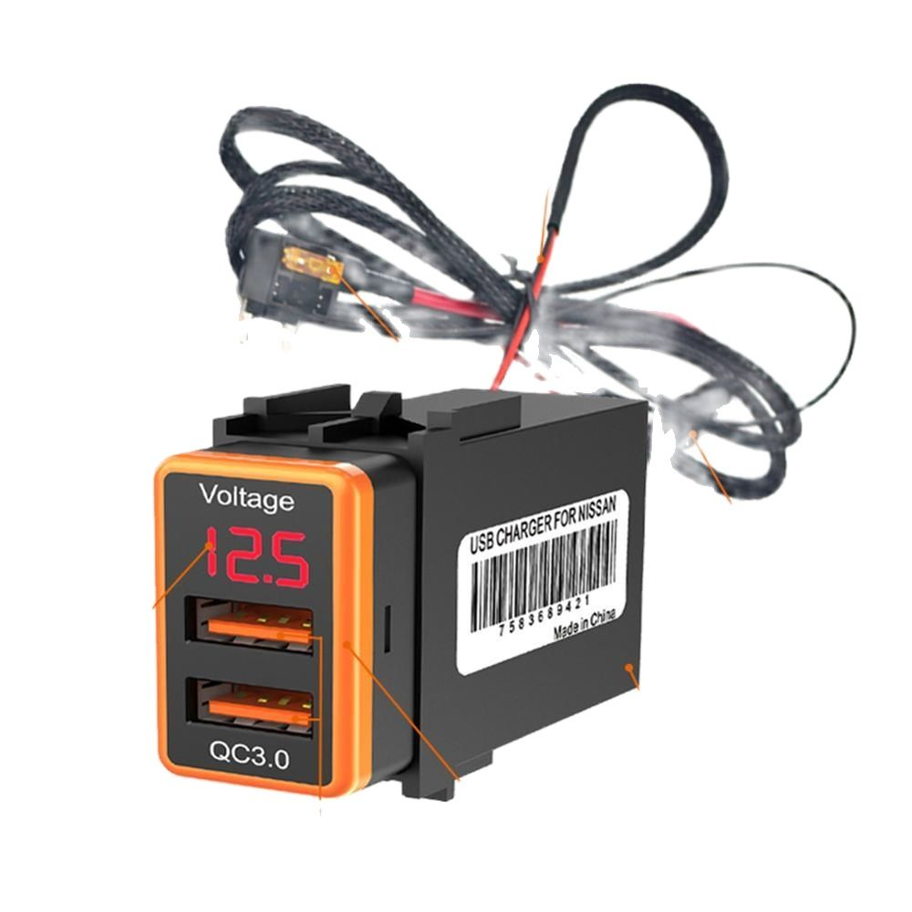 12V Dual USB Car Charger QC3.0 LED Voltmeter Power Adapter With Digital Voltage Display For Nissan charger uninterruptible power energy гарант 2000 economical idle running colored led display