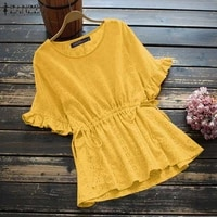 zanzea femme clothing shirts tops oversized blouse 2021 women casual summer short sleeved blusa retro floral embroidery chemise