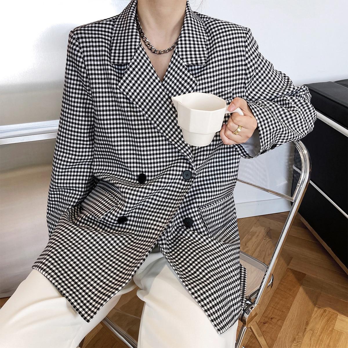 Korean Black White Plaid Suit Coat Women's Spring Autumn New Long Sleeve Double Breasted Loose Blaze