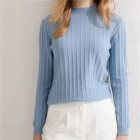 2021 autumn winter new 100 pure wool sweater womens knit pullover jacquard slim half high collar all match bottoming shirt xl