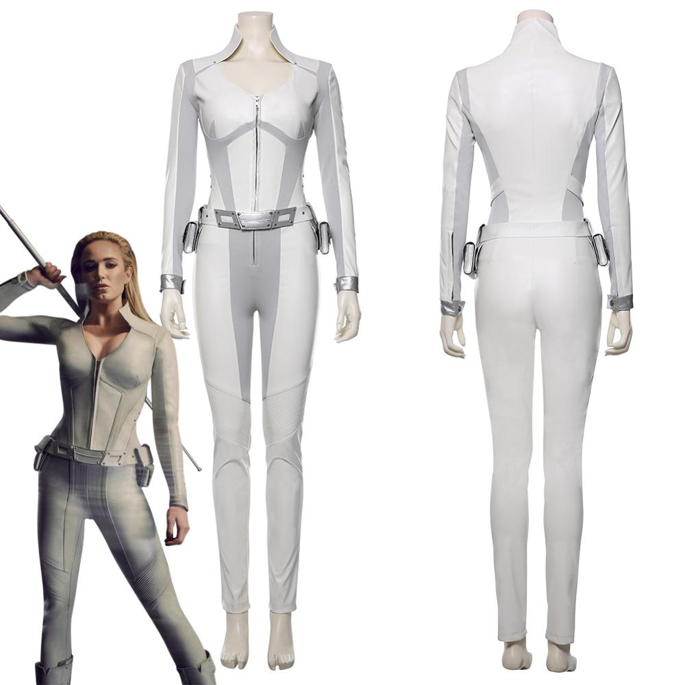 Legends of Tomorrow Sara Lance Cosplay Costume White Canary Halloween Costumes for Adult Women DC Superhero Outfit Jumpsuit