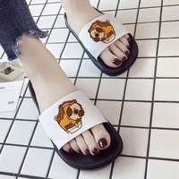 2021 women shoes pug dog animal 90s print ladies high quality printing slippers casual shoes for woman comfortable flip flops