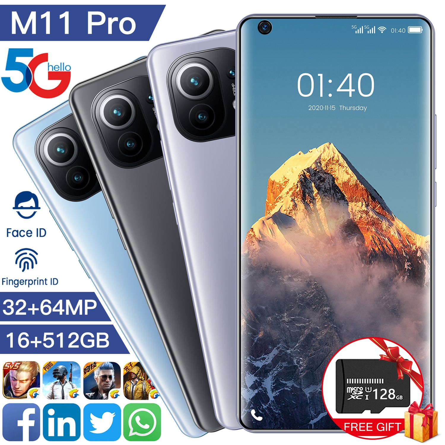Newest 5G Global Version M11 pro 16GB 512GB 7.3Inch 6800mAh Samsug Android 11 Smartphone Dual SIM Ca