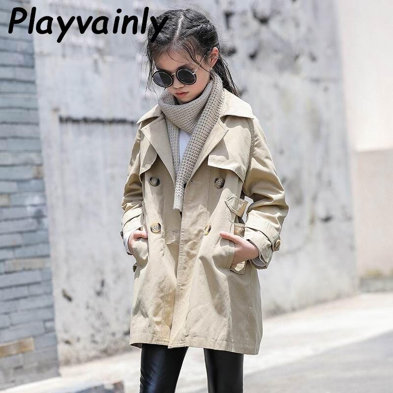 Girls Trench Coat 2020 Autumn Baby Girls Coat Khaki Casual Coat Single-breasted Loose Dust Coat Girl