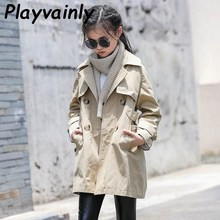 Girls Trench Coat 2020 Autumn Baby Girls Coat Khaki Casual Coat Single-breasted Loose Dust Coat Girl