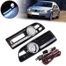 Светодиодный светильник дневного света s и светодиодный противотуманный светильник решетка бампера для VW Jetta Bora MK4 1999-2004 1J5853665B 1J5853666B
