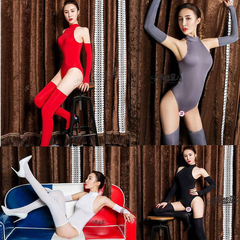 DROZENO Three-piece tights sexy shop underwear women 4-color tight-fitting bodysuit Socks + gloves +