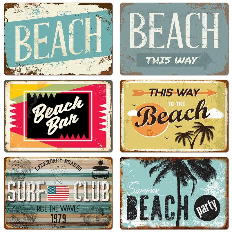 Verano playa Decor Metal lata con letrero para Bar Club Mar de Metal Placa de póster Club de Surf de placas con señales