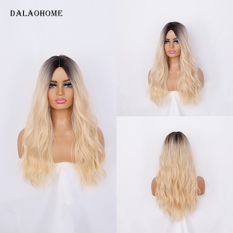 Dalaohome Natural Wigs For Woman Long Blonde Brown Synthetic Wig Hair Heat Resistant Lolita Wavy Ombre Straight Hairs Cosplay