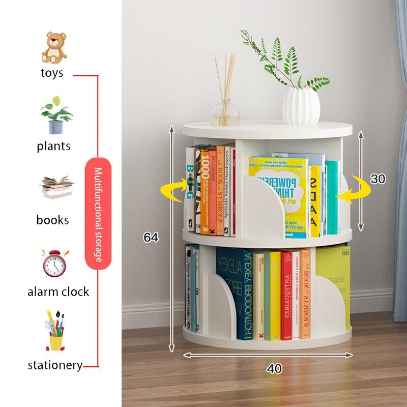 Estantería giratoria de 360 ° de doble capa, estantería de almacenamiento para libros de fotos para niños, estantería lavable sin formaldehído