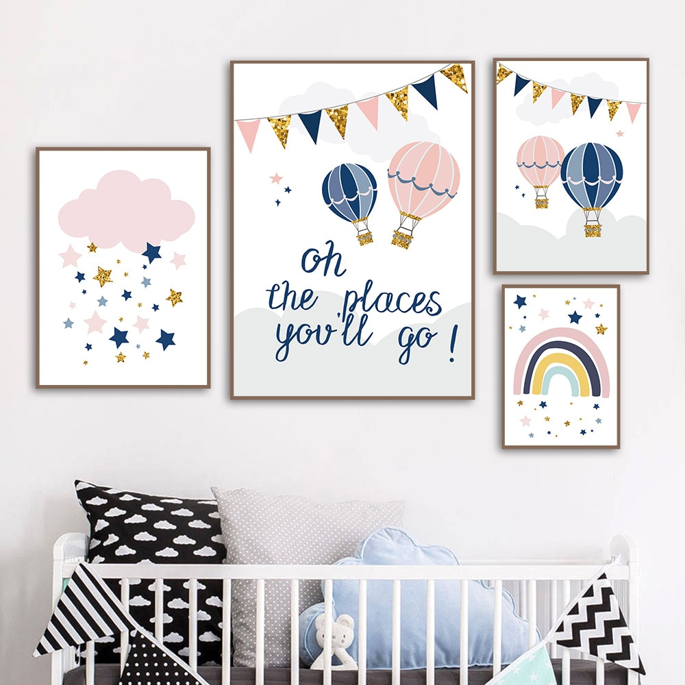 Globo de aire caliente Babi, cartel nórdico, pintura, cuadros de pared para bebé niña, pinturas de pared para dormitorios, habitación de bebé, póster de pared de nube rosa