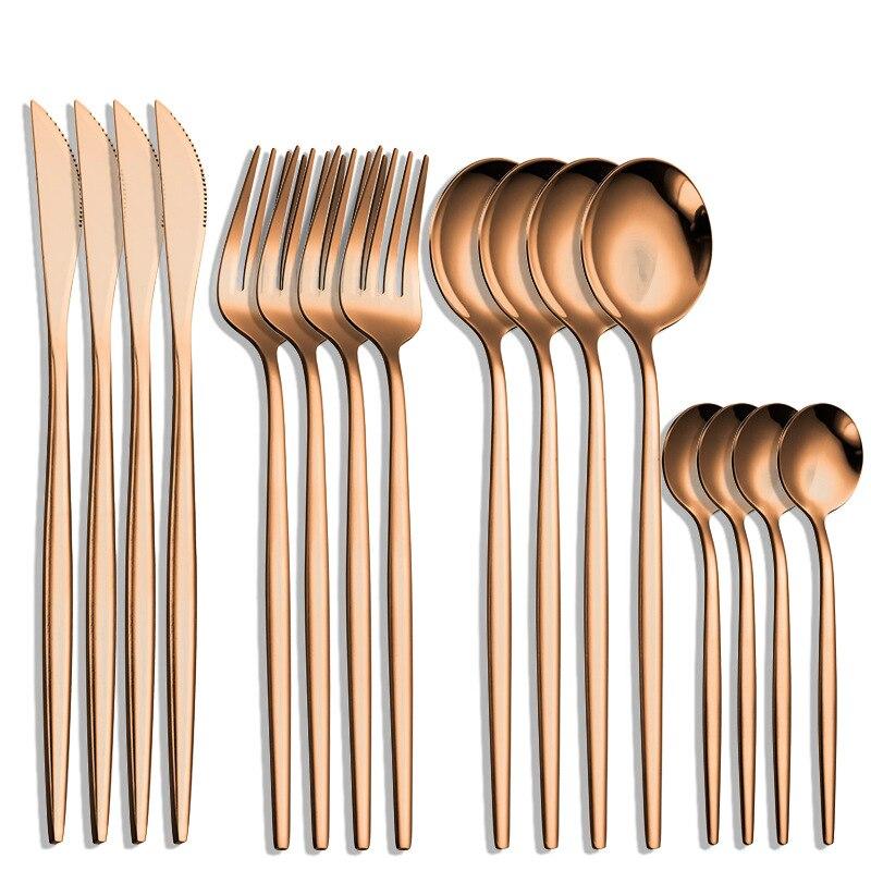 16 قطعة الفولاذ المقاوم للصدأ مغطاة الذهبي الفضيات الجدول أدوات المائدة أدوات المطبخ مجموعات من أدوات المائدة ملعقة وشوكة أواني الطعام