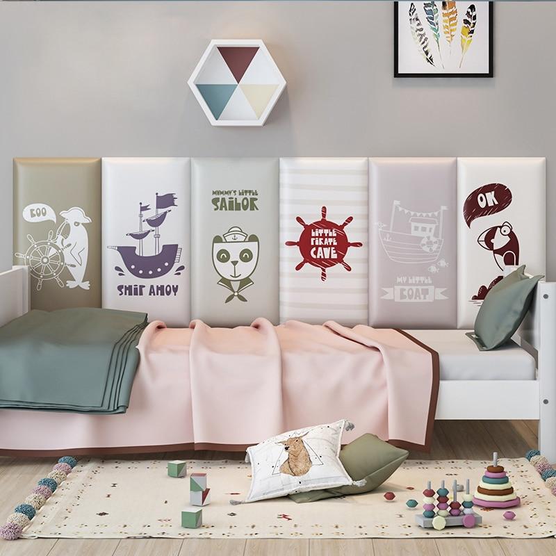 Детские настенные наклейки с защитой от столкновений, мягкие татами для кровати, изголовья кровати, декор для детской комнаты, самоклеящиес...