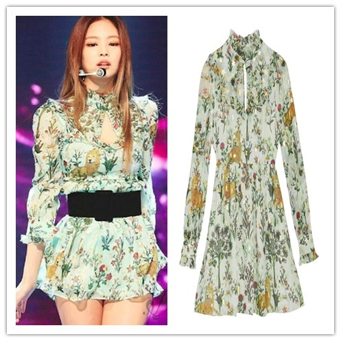 Kpop-فستان Harajuku قصير بأكمام طويلة ، أزياء المشاهير الكورية ، طباعة الأزهار ، ملابس الشارع الصيفية ، ياقة واقفة ، للنساء