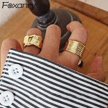 Foxanry Minimalist เงิน925แหวนแนวโน้มใหม่ฝรั่งเศส Gold Plated Multilayer เรขาคณิตเจ้าสาวของขวัญเครื่องประดับ
