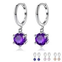 zemior 925 sterling silver water drop round earrings shining cz dangle earrings for women luxury jewelry valentines day gift
