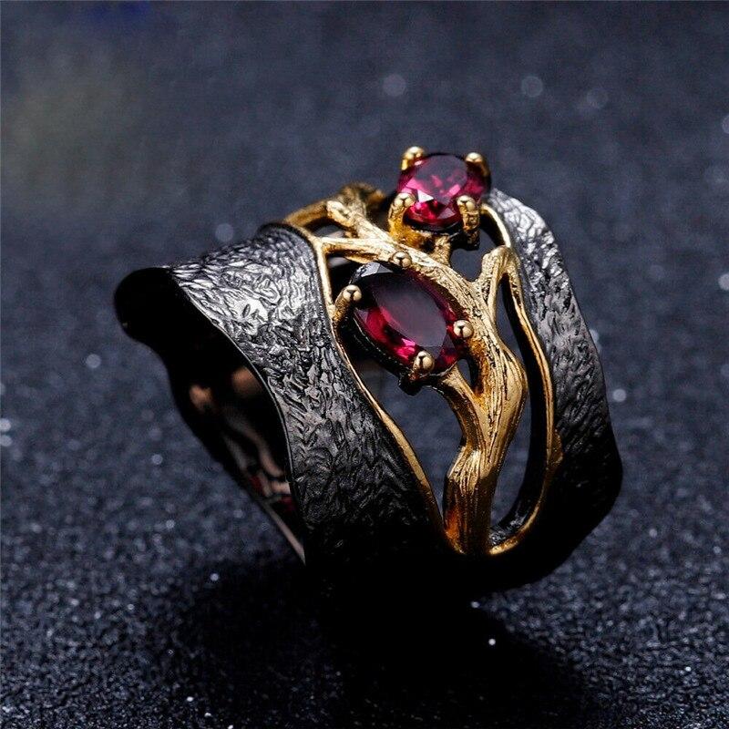 2020 nuevo anillo de granate rojo retro de la personalidad de moda para las mujeres anillo de compromiso joyería para fiesta y boda