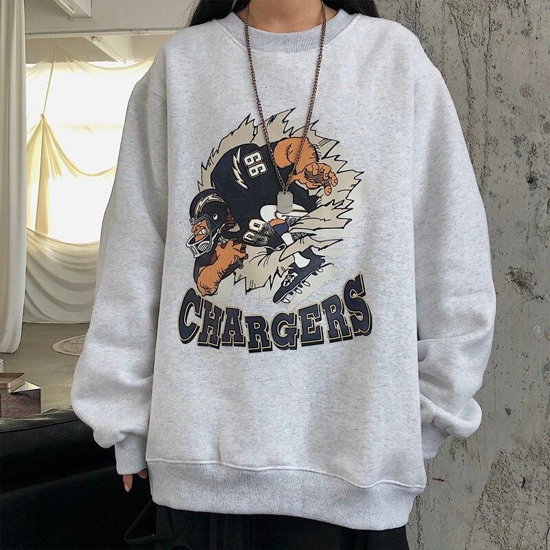 Женские толстовки Harajuku плюс бархатные плотные Свободные корейские стильные женские новые модные ретро с принтом и круглым вырезом повседн...