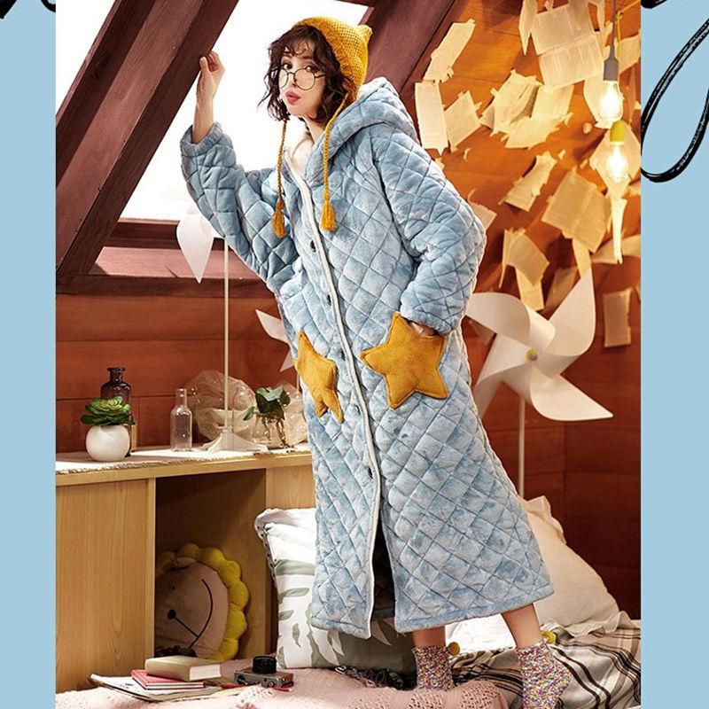 ثوب نوم نسائي شتوي ، ملابس نوم ، طويل ، لطيف ، من الفانيلا ، رداء حمام سميك مخملي ، خدمة منزلية ، ثلاث طبقات ، ملابس دافئة