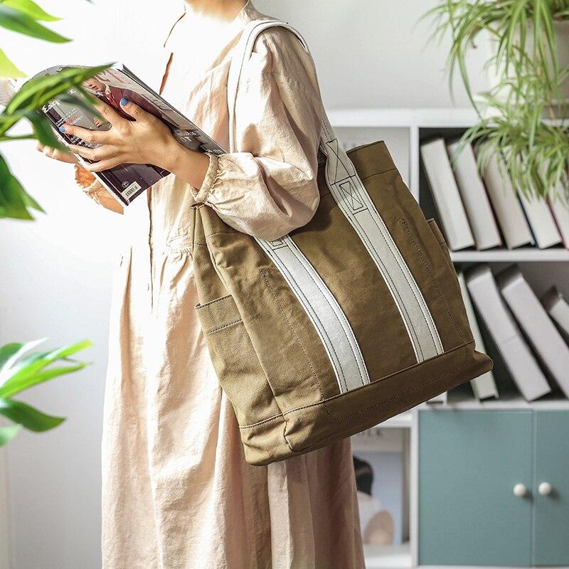 اليابانية موضة قماش حمل حقيبة مع جيوب حقيبة تسوق مصمم حقيبة كتف للنساء اللون مطابقة حقيبة رافعة