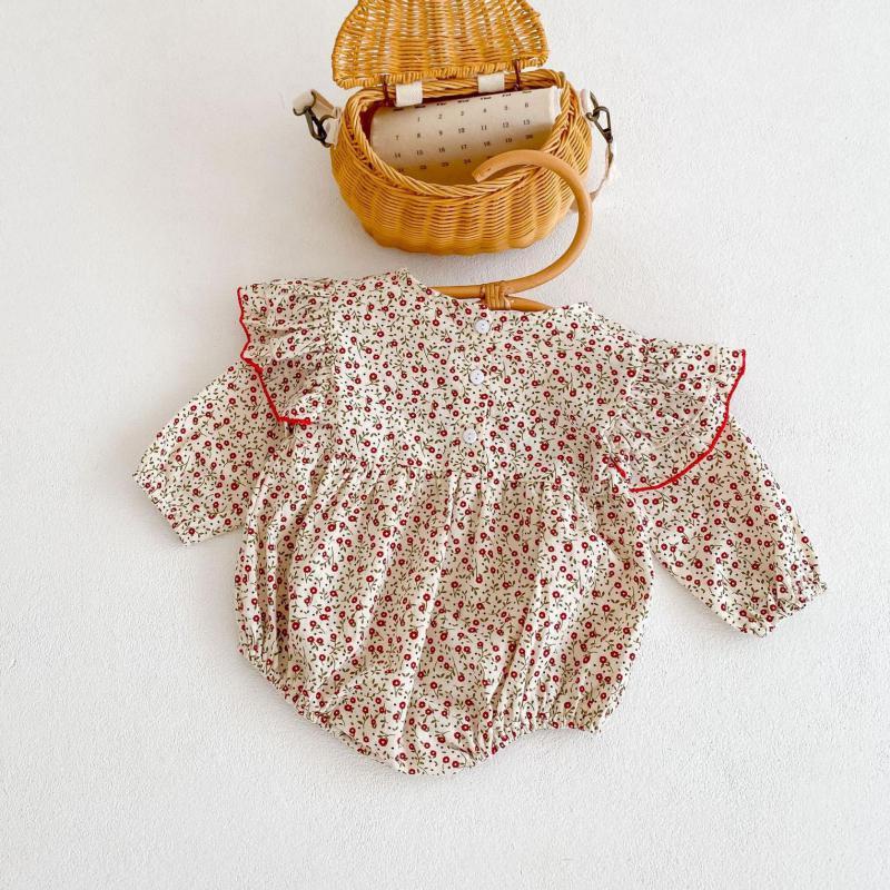 Новинка 2021, одежда для маленьких девочек, боди с длинным рукавом и цветочным принтом для младенцев, хлопковый комбинезон для новорожденных, ...