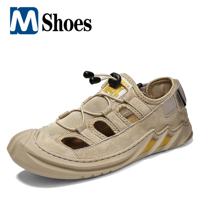 summer men sandals breathable beach shoes hook Comfortable Men Sandals Breathable Men Casual Shoes Beach Sandals Mens Roman Sandals Summer Leather Shoes Man Mesh Sneakers