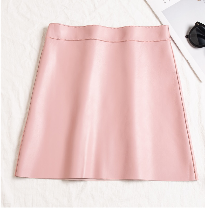 new autumn and winter office lady Fashion casual plus size brand female women girls Genuine leather mini skirts