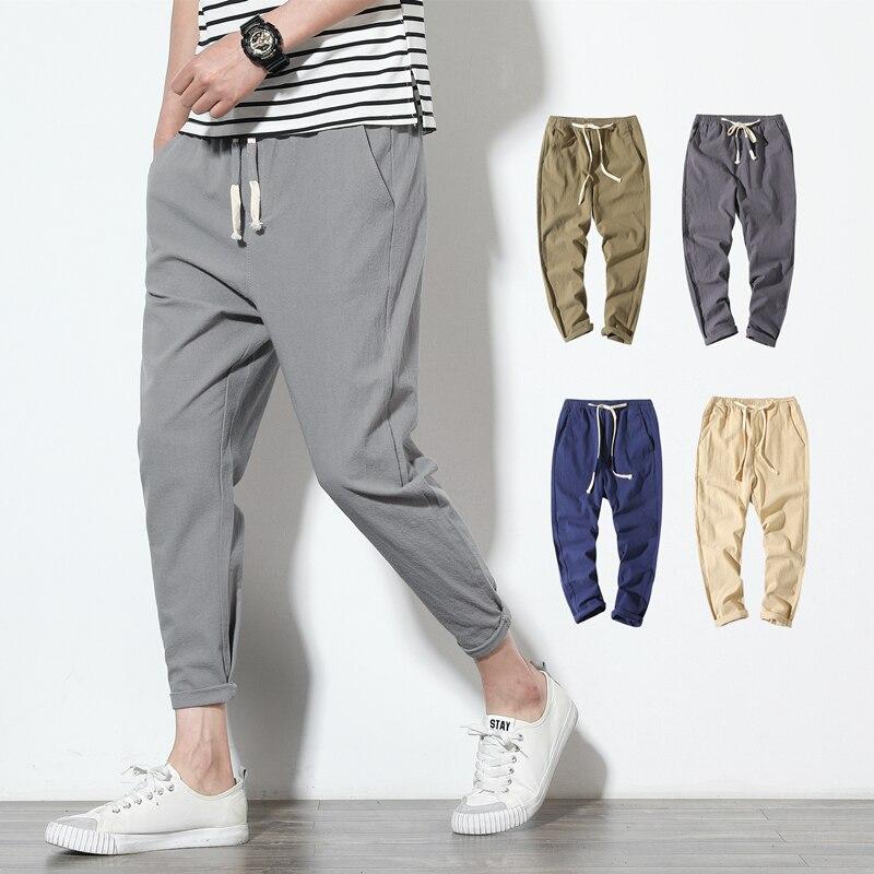 Cotton Joggers Men Solid Men's Harem Pants 2021 Summer Fitness Casual Ankle-Length Mens  Trousers Streetwear Slim Male Pants