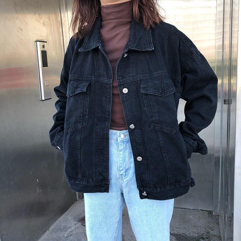 Chaqueta informal para mujer, chaqueta vaquera negra, ropa de calle Vintage, abrigo vaquero básico, chaqueta Bomber holgada de manga larga para mujer, chaqueta vaquera para mujer