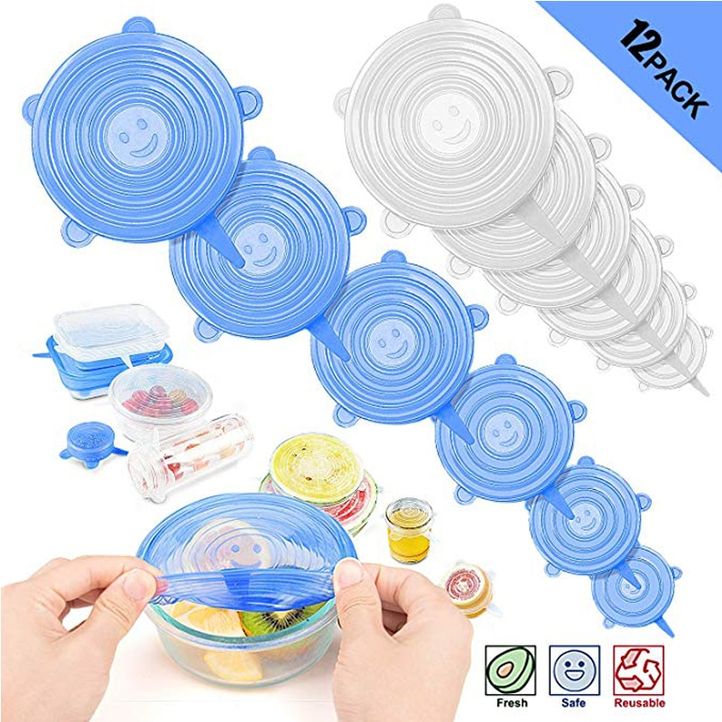 Tapas elásticas de silicona tapa Universal recipiente de silicona tapa de silicona cubierta de silicona Pan comida fresca cubierta de microondas 3/6/12 Uds