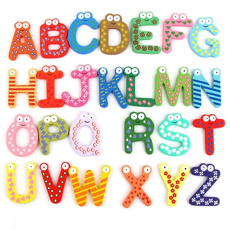 Children Wooden Toys Number Colorful Letter Cognitive Board Kids Toddler Toys Scrabble Letters Learning for 1-4 Years Baby