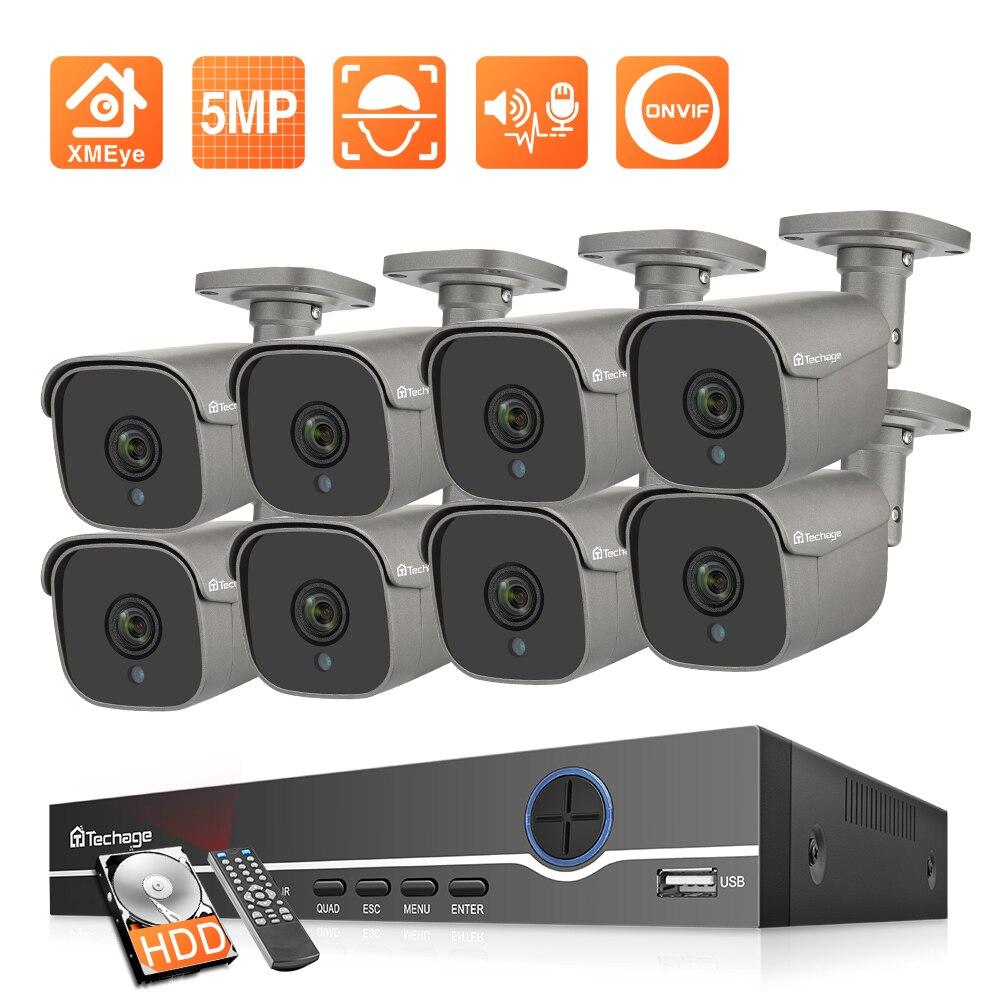 Techage-مجموعة كاميرات IP بدقة 5 ميجابكسل ، ونظام H.265 CCTV ، ومجموعة NVR POE 8CH ، ومراقبة خارجية مقاومة للماء ، ومسجل صوت وفيديو P2P