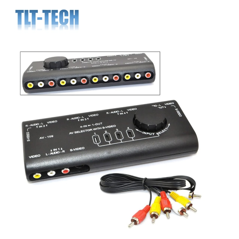 4ch color video digital color quad splitter processor with vga out for cctv security system with bnc switcher splitter 4 in 1 AV Audio Video Signal Switcher S-Video Selector Splitter with RCA Cable for VCD DVD Video Camera Game Recorder Game to TV