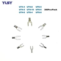300pcs non insulated fork crimp terminal ut46 electric spade naked terminales wire connector cable 1210awg 46mm2