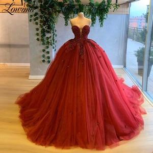 Puffy Evening Dress Applique Beading Prom Dresses Tulle Women Dress Arabic Party Dresses Haute Couture 2020 Dubai Formal Gowns
