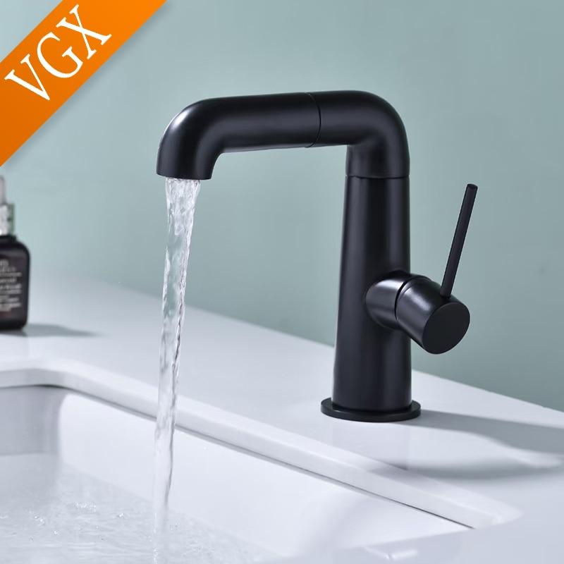VGX Роскошные Смесители для ванной комнаты, смеситель для раковины, смеситель для раковины, смеситель для горячей и холодной воды, вращающийс...