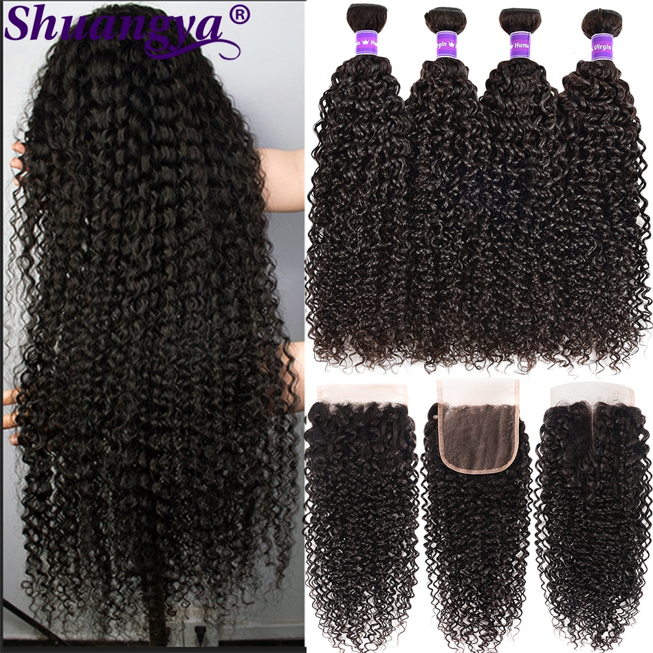 Kinky Curly Bundles With Closure 100% Remy Human Hair Pre Plucked Peruvian 5x5 HD Lace Closure Curly Wave Bundles With Frontal