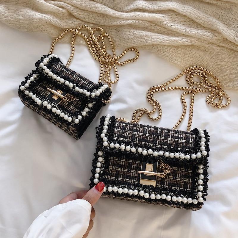 luxury handbags bags Weaving designer New small bag female 2020 pearl decoration fashion wild Messenger bag Shoulder Bags