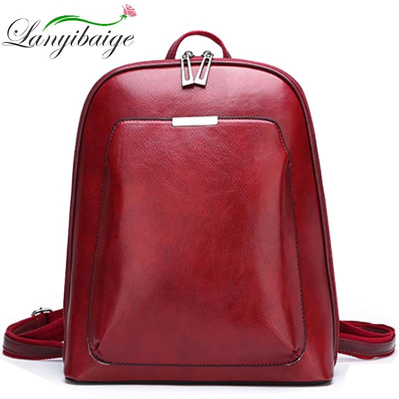 2021 Women Leather Backpacks For Girls Sac A Dos School Backpack Female Travel Shoulder Bagpack Ladies Casual Daypacks Mochilas