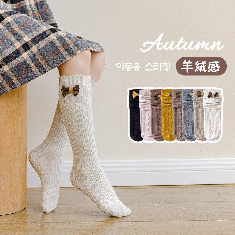 Осенние детские носки-трубы, однотонные длинные носки-трубы с бантом для девочек, носки-трубы, носки-трубы с корейским ворсом