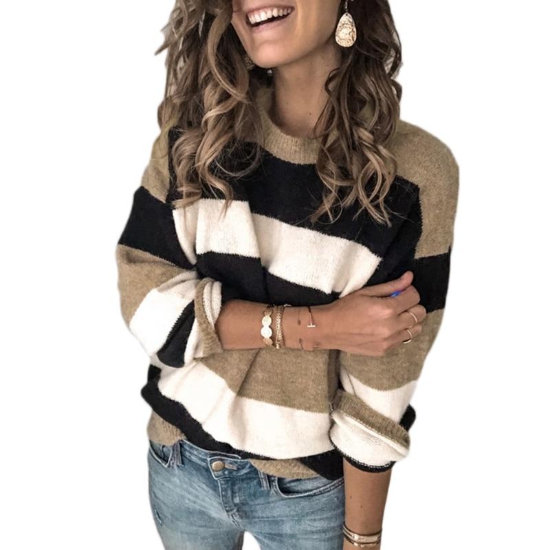 Women Long Sleeve O-Neck Sweater Contrasting Color Stripes Loose Knit Jumper Top enlarge