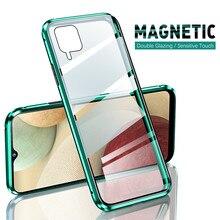 Металлический магнитный двухсторонний стеклянный защитный чехол на 360 градусов для samsung galaxy a12 a 12, двухсторонний стеклянный чехол