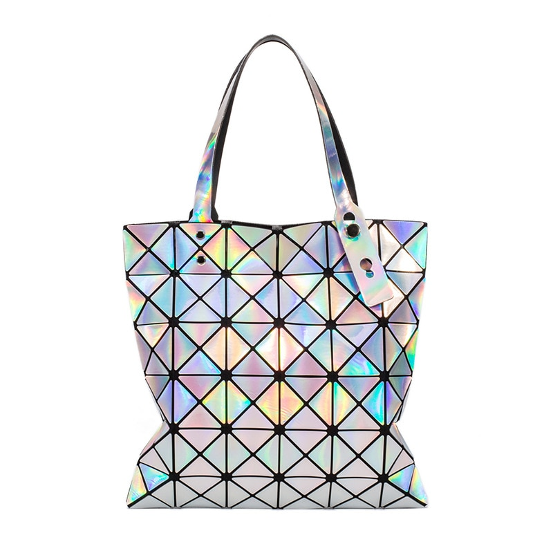 Crocrogo Women's Laser Holographic Geometric Shoulder Hand Bag Girl's Fashion Travel Casual Shopping