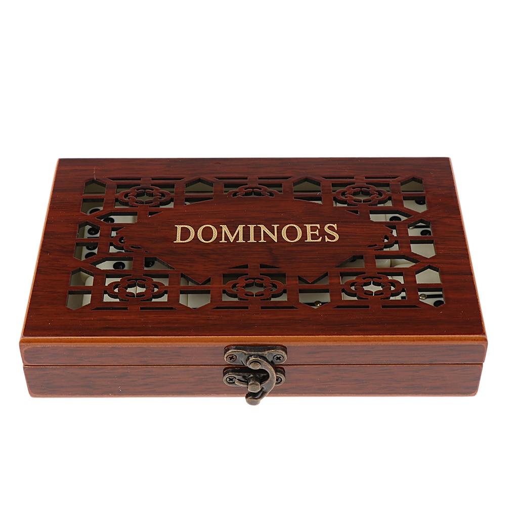 Juego de juguetes recreativos para fiestas con caja de madera de 28 dominó