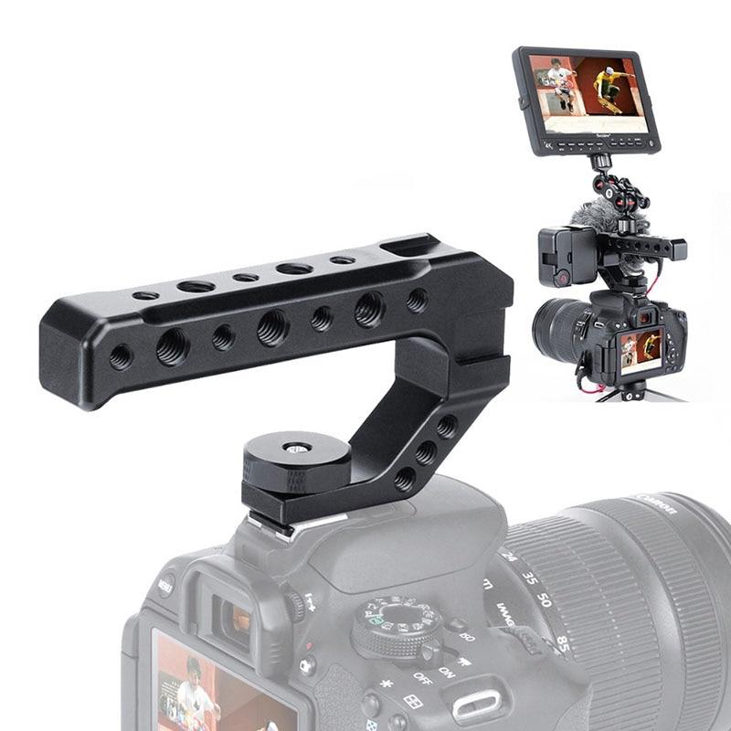 UURig R005 Универсальный DSLR камера Rig Топ ручка три Холодный башмак адаптер крепление для Светодиодный светильник металлический микрофон ручка ...