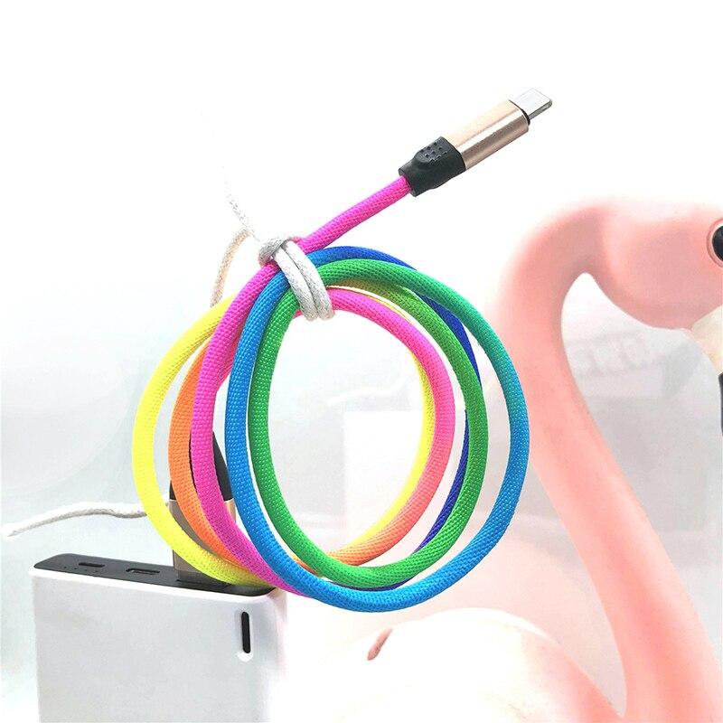 Cable USB tipo C de Color arcoíris de datos para Samsung S9 S8 Plus, carga rápida para Huawei P30 Pro Xiaomi Redmi note 7, Cable de carga