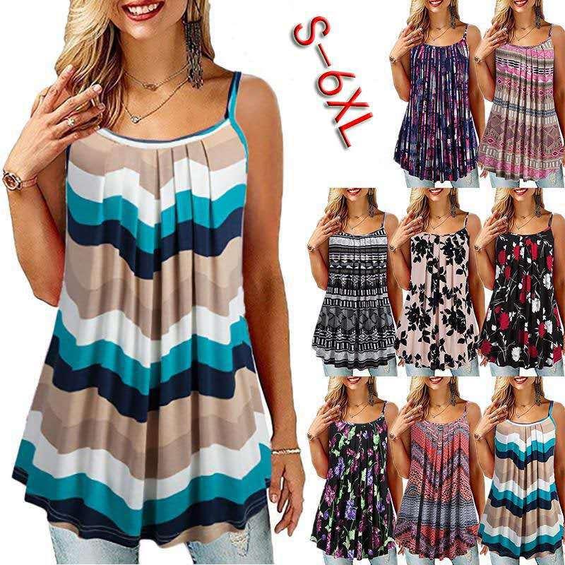 Novedad de verano Mujer casual plisado camisola grande holgada de talla grande con tirantes finos y cuello redondo